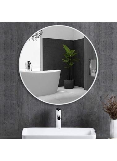 Chic Life Chic Life Alterf Dekoratif Beyaz Çerçeveli Yuvarlak Ayna 70 cm x 70 cm Beyaz